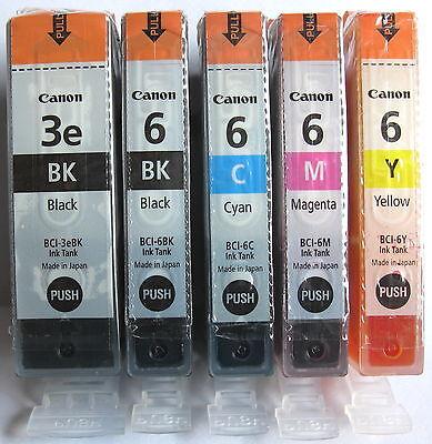 Canon Genuine BCI-3eBk BCI-6Bk BCI-6C BCI-6M BCI-6Y Set. New