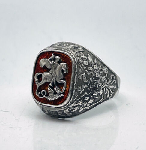 Russian Imperial 84 Silver Enamel Ring with St.George