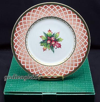 Fitz Floyd Rose Wreath Winter Holiday 4 SALAD PLATES Christmas, Classic Choices