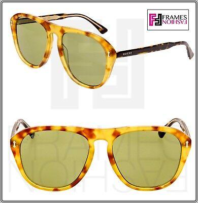 GUCCI 0128 Vintage Aviator Blonde Havana Crystal Green Sunglasses GG0128 Unisex