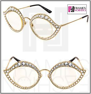 c296424e13d GUCCI LIPS CRYSTAL Sunglasses 4287 Cat Eye Gold Metal Frame RX Glasses 0046