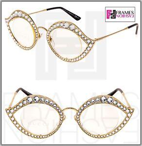 031b17755bb GUCCI LIPS CRYSTAL Sunglasses 4287 Cat Eye Gold Metal Frame RX Glasses 0046
