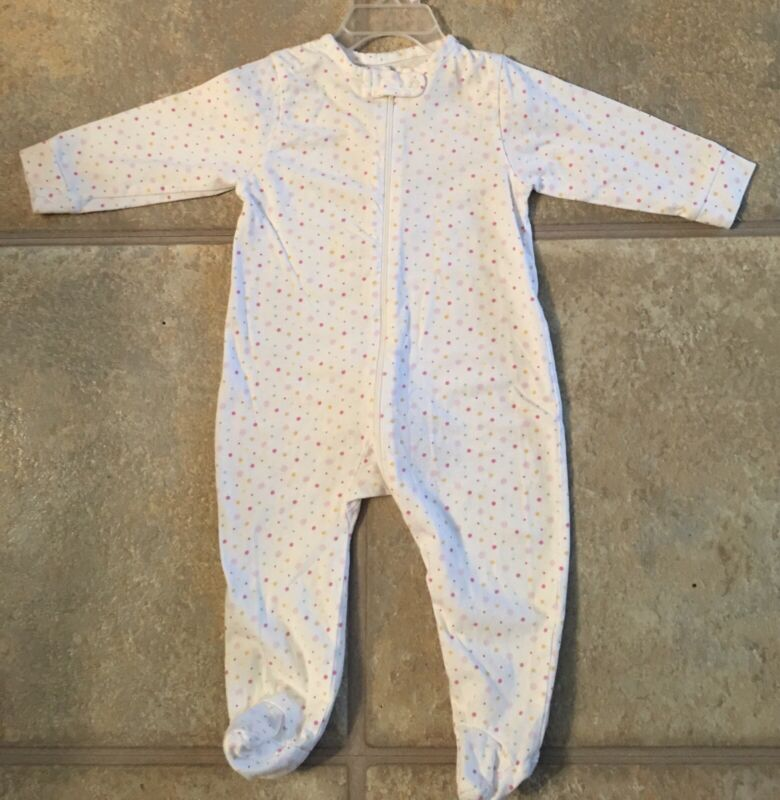 Gerber Girl's Size 6-9 Months White 100% Cotton Sleeper With Pastel Polka Dots