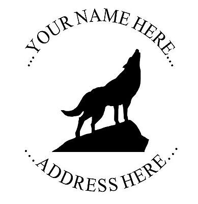 New Impruemark Custom Round Return Address Self Inking Rubber Stamp Howling Wolf
