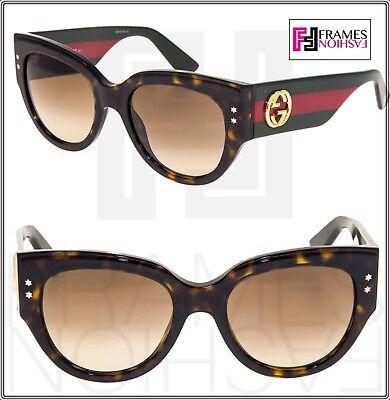 GUCCI GG3864S Red Green Brown Havana Gradient Women Square Sunglasses 3864 Star (Red Star Sonnenbrille)