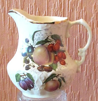 Henry's of Staffordshire Embossed 1/2 Pint jug with Transfer-printed Fruit.