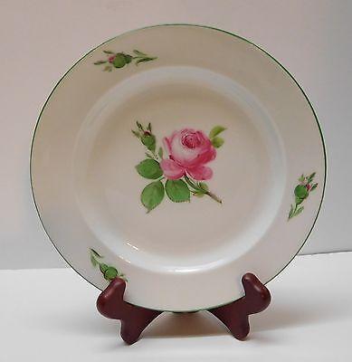 Meissen Porcelain Plate with Pink Roses Pink Buds Crossed Swords Vintage