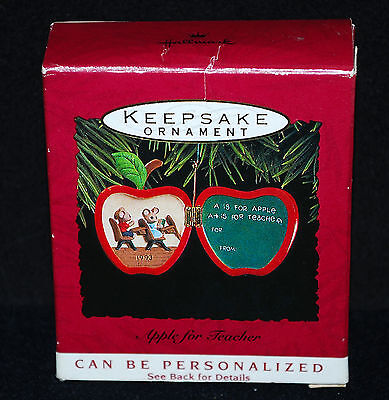 Apple For Teacher - Personalized Hallmark Chistmas Ornament Dated 1993