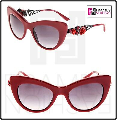 Dolce & Gabbana 4302 Metal FLOWER LACE Red Ruthenium Cat Eye Sunglasses (Dolce Gabbana Lace Sunglasses)