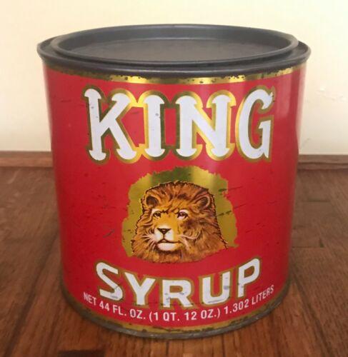 Vintage King Syrup Tin Can Mangels Harold Co Baltimore MD Lion 44 Oz
