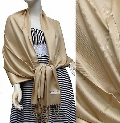 Women Soft 100%PASHMINA SILK Classic Solid Cashmere SHAWL Scarf Stole WRAP Beige