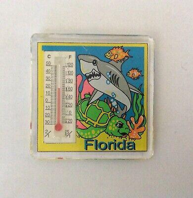 Florida Ocean Shark Turtle Thermometer Rectangle Acrylic Fridge Magnet