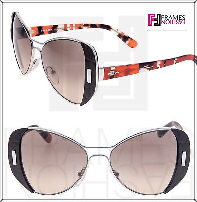 PRADA MOD Geometric PR60SS Brown Silver Orange Metal Gradient Sunglasses 60S