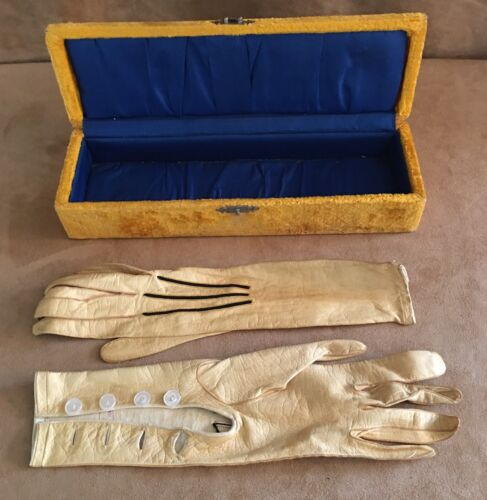 Vintage French 6 1/2 Edwardian Leather Gloves in box ivory pearl buttons storage