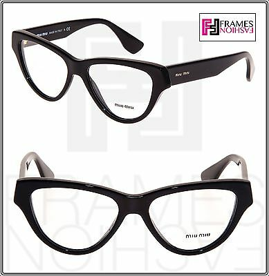MIU MIU MU10NV Cat Eye Eyeglasses RX Frame Shiny BLACK 1AB-1O1 52mm 10N Women