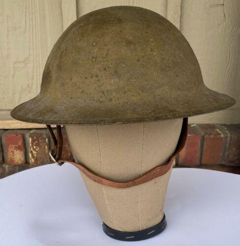 WW1 British Brodie Helmet, D/F 97, Named, Sand Grain Paint, Liner, Chin Strap
