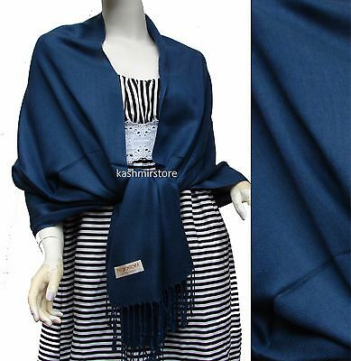 NEW Women Solid 100%Pashmina Wrap Stole Cashmere Shawl/Scarf Soft Navy Blue