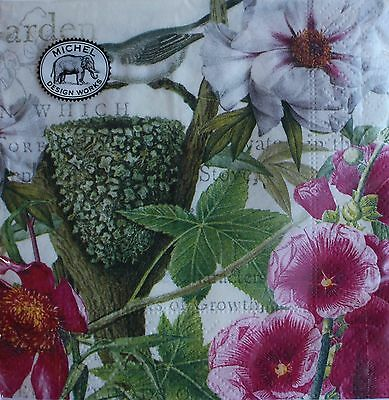 *MICHEL DESIGN Set of 20 Cocktail Beverage Decoupage Paper Napkins ~Bird ~PETALS