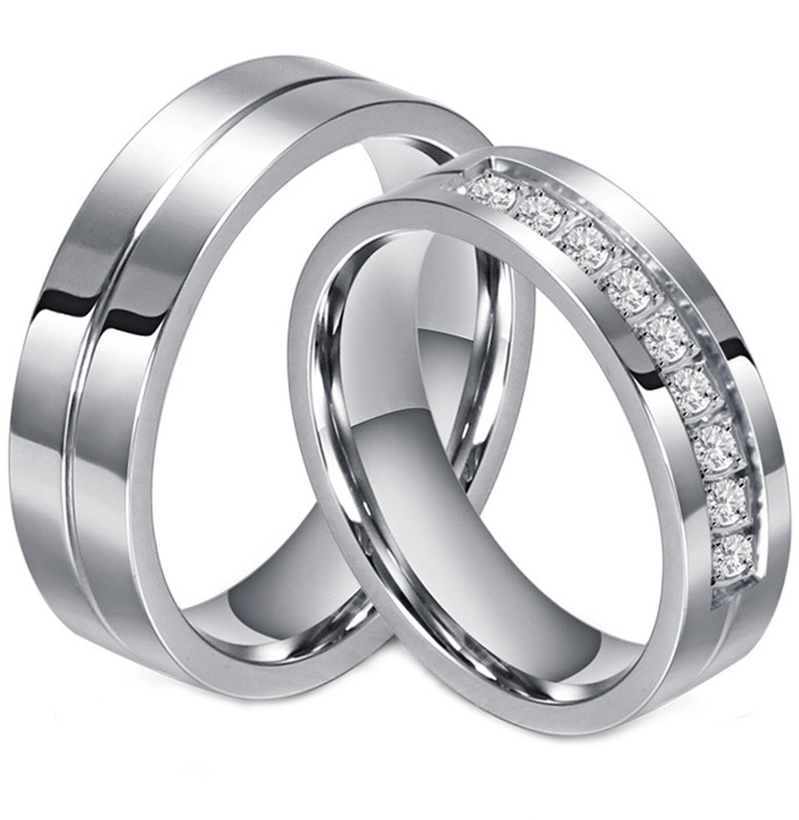 Couple's Matching Ring His or Hers Stainless Steel Comfort Fit Wedding Band Fashion Jewelry