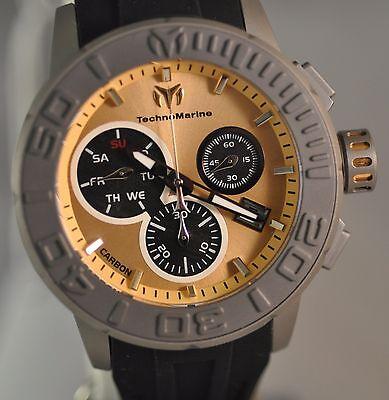 New Mens Technomarine 515005 Reef Swiss Chrono Gold Tone Dial Silicone Watch