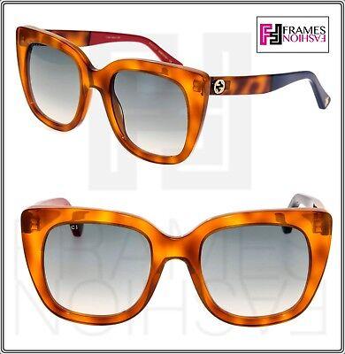 GUCCI Square Oversized GG0163S Medium Havana Red Blue Logo Sunglasses 0158 -