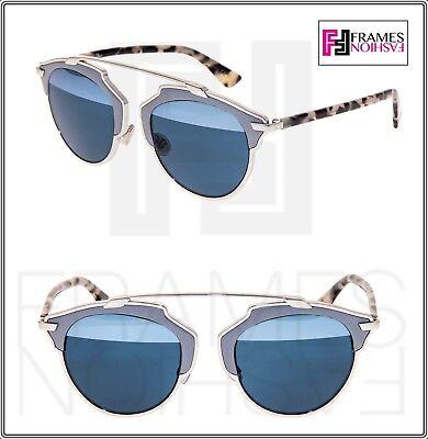 493042cc11 CHRISTIAN DIOR SO REAL Grey Leather Sand Havana Blue Mirror Sunglass  DIORSOREAL