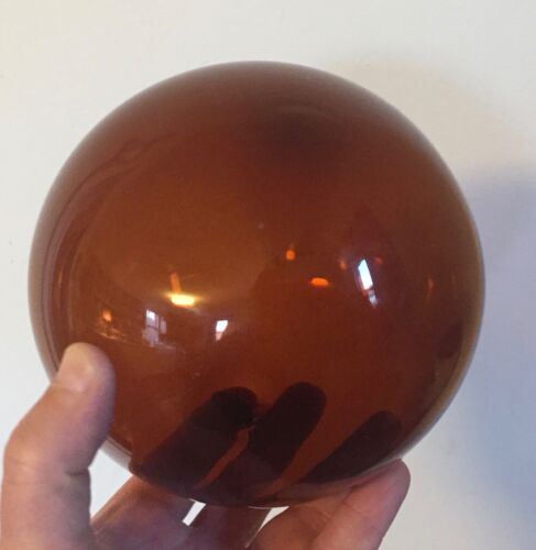 Antique 19th century American Blown Glass Ball Sphere Amber Color Float
