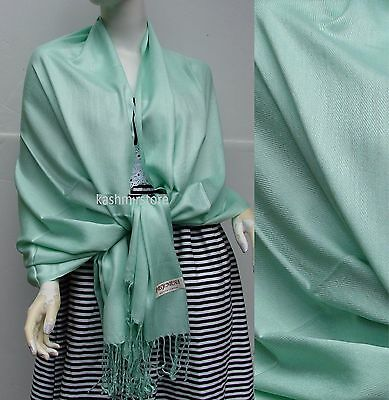 NEW Women Solid 100%Pashmina Wrap Stole Cashmere Shawl/Scarf Soft Jade Green