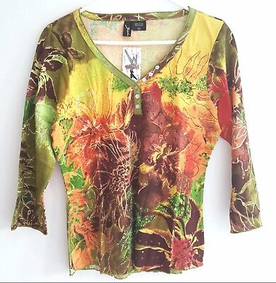 Women's Top Size XL Long Sleeve Printed Green Brown Sequin & Beads Pullover