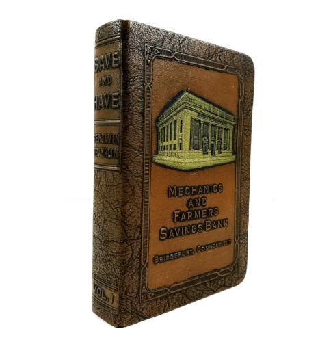Vintage Mechanics Farmers Savings Bridgeport Connecticut CT Leather Book Bank