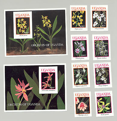 Uganda #747-756 Orchids 8v & 2v S/S Imperf Proofs