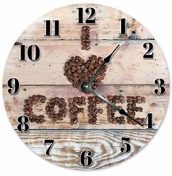 I LOVE COFFEE Wood Clock - Large 10.5 Wall Clock - 2051