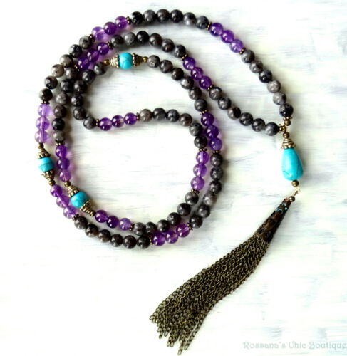 108 Prayer bead amethyst and larvikite necklace w/ turquoise & chain tassel