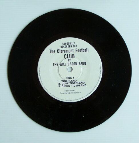 """RARE CLAREMONT FOOTBALL CLUB WILL UPSON BAND TIGERLAND THEME SONG 7"""" LP RECORD"""