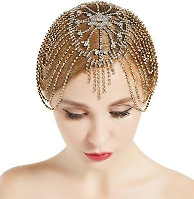 Roaring 20s Headpieces (Vintage Bridal Headpiece Roaring 20s Crystal Rhinestone Flapper Cap for)