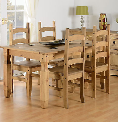 NEW CORONA Solid Wood Pine 5FT Dining Table and 4 Chairs SET