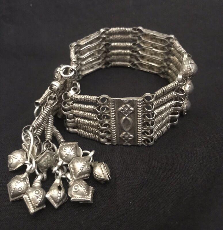 Vintage Etruscan Silver Handmade  Bracelet With Bells