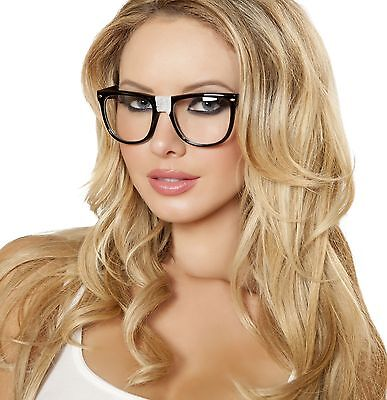 Nerd Glasses with Tape Big Frame Clark Kent Superman Geek School Costume G104](Halloween Costumes With Black Glasses)