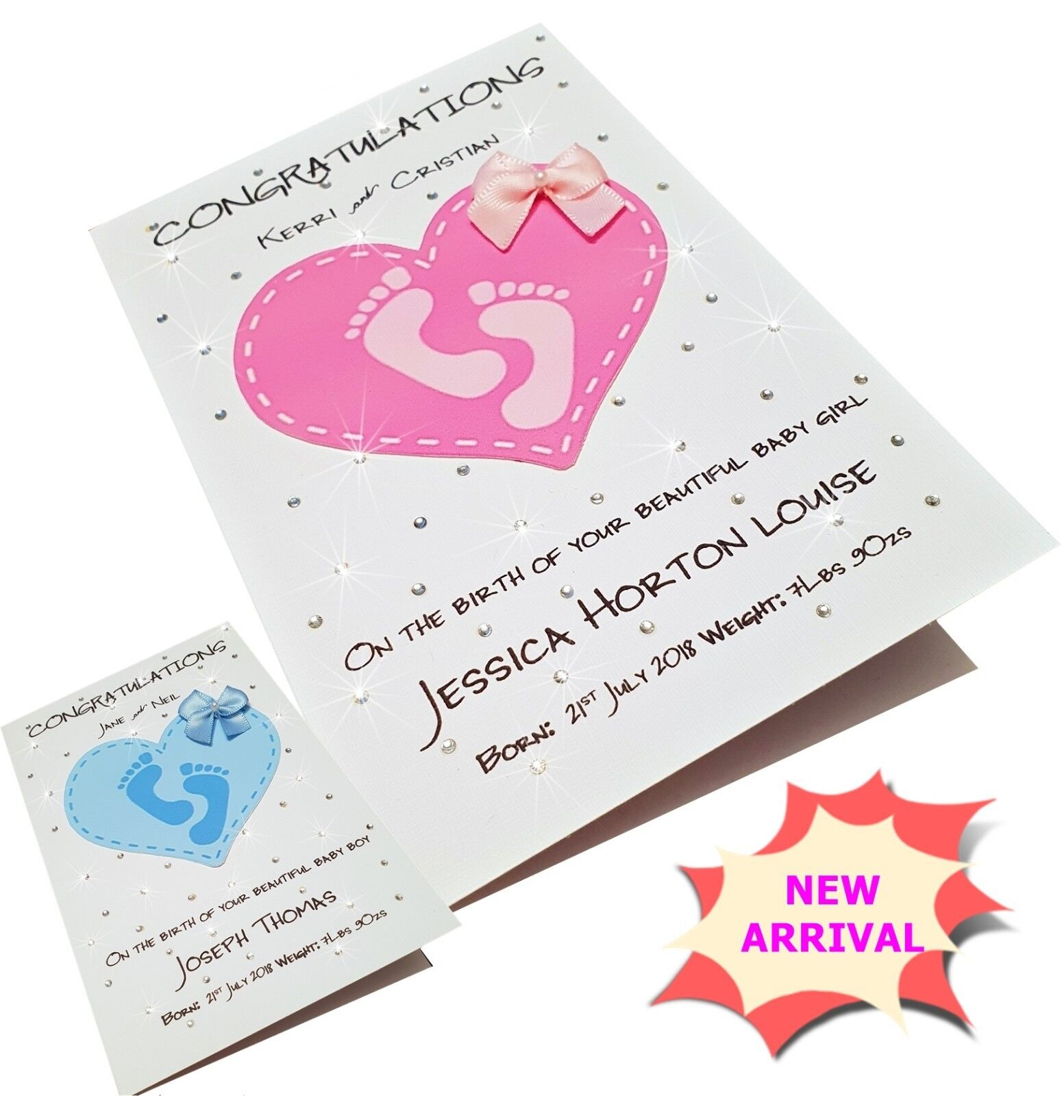 Handmade Personalised Birth Congratulations Card for Girl or Boy