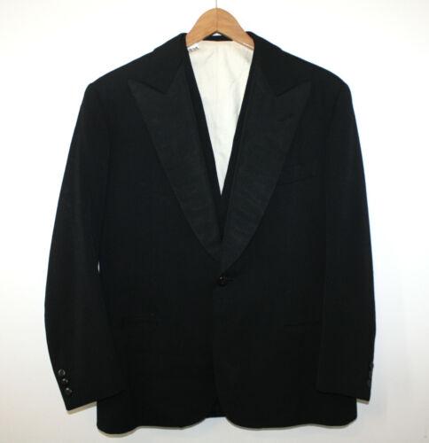 R Barbieri MIlano VTG 1930s Formal 3pc Tuxedo Wool Handmade Peak Lapel 38S 34-28