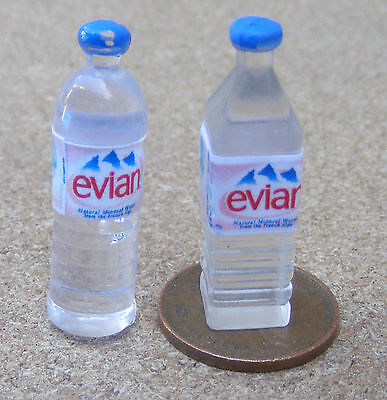1:12 Scale 2 Resin Bottles Of Evian Water Tumdee Dolls House Drink Accessory
