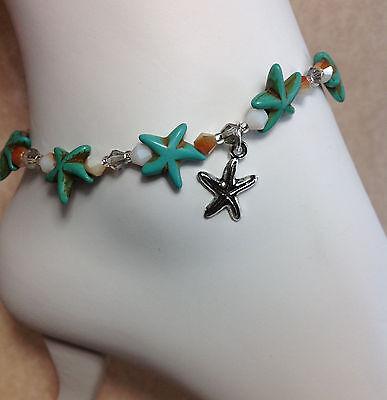 Turquoise Gemstone Starfish Anklet/Ankle Bracelet W/Swarovski Elements USA