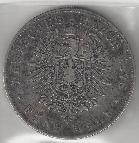 BADEN, GERMAN STATE, 1876-G,  5 MARK, SILVER,  KM# 263.1,  VERY FINE