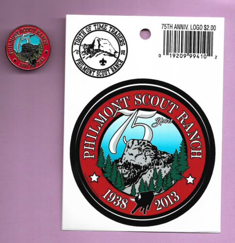 PHILMONT SCOUT RANCH * 1938-2013 * 75th ANNIV. HAT PIN & STICKER* TOOTH OF TIME