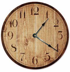 RUSTIC TAN WOOD Clock - Large 10.5 Wall Clock - 2026