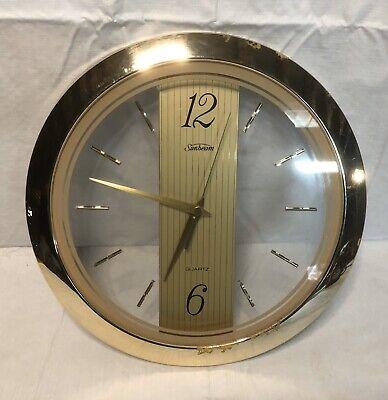 VINTAGE SUNBEAM QUARTZ WALL CLOCK BRASS ROUND MODEL 882-1142