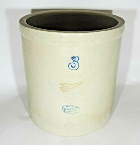 Red Wing Potteries Crock 3 Gallon Stoneware 1930s Pottery Antique Vintage White