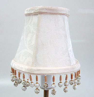 Fringe Mini Lamp - LOT OF 6 Cream Damask Chandelier Mini Lamp Shades Softback with beaded fringe