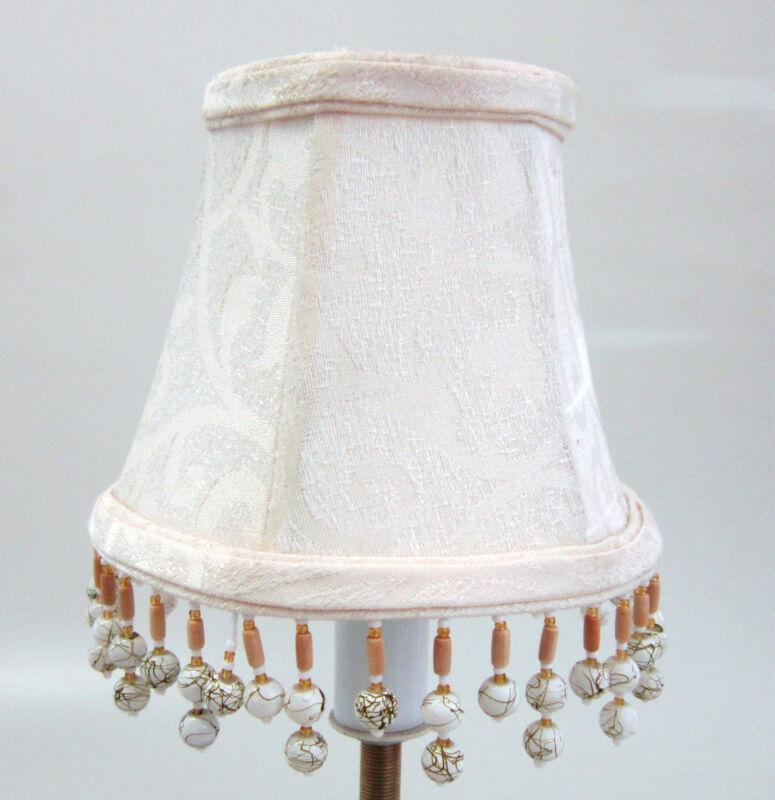 LOT OF 6 Cream Damask Chandelier Mini Lamp Shades Softback with beaded fringe