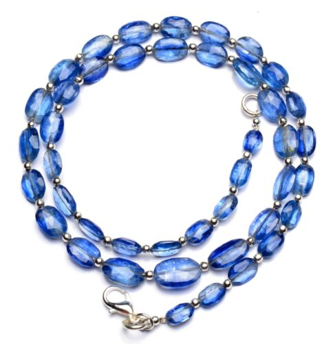 """Natural Gem Kyanite 7x5 to 11x8mm Faceted Oval Shape Nugget Beads Necklace 18"""""""